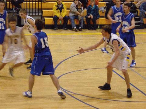 Matthew Collins and Corey Mayes want the ball!