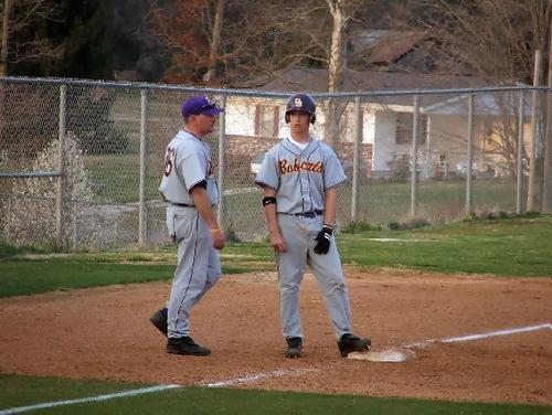 Coach Kegley and Justin Whalen (#3) at 3rd