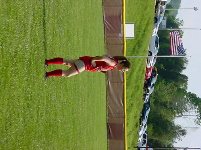 Senior #44 Amanda Mika in left field