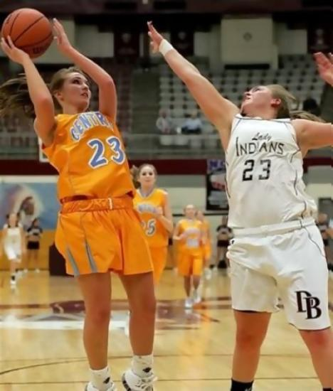 #23 Christina Howard of Sullivan Central shoots for two of her ten points in big victory over the Lady Indians