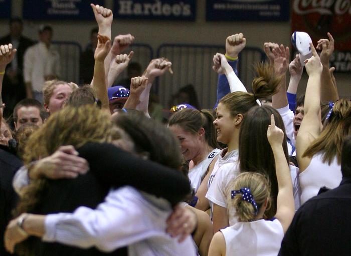 Cleveland players and fans celebrate a sectional win.